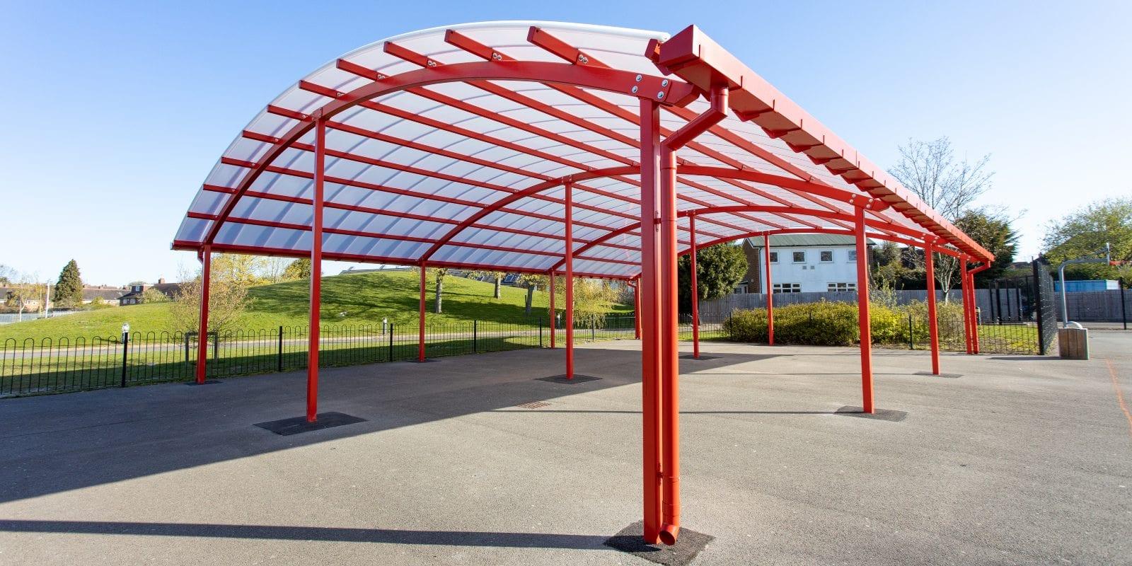 Red canopy we designed for King Edward Sheldon Heath Academy
