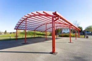 Red frame shelter we manufactured for King Edward Sheldon Heath Academy