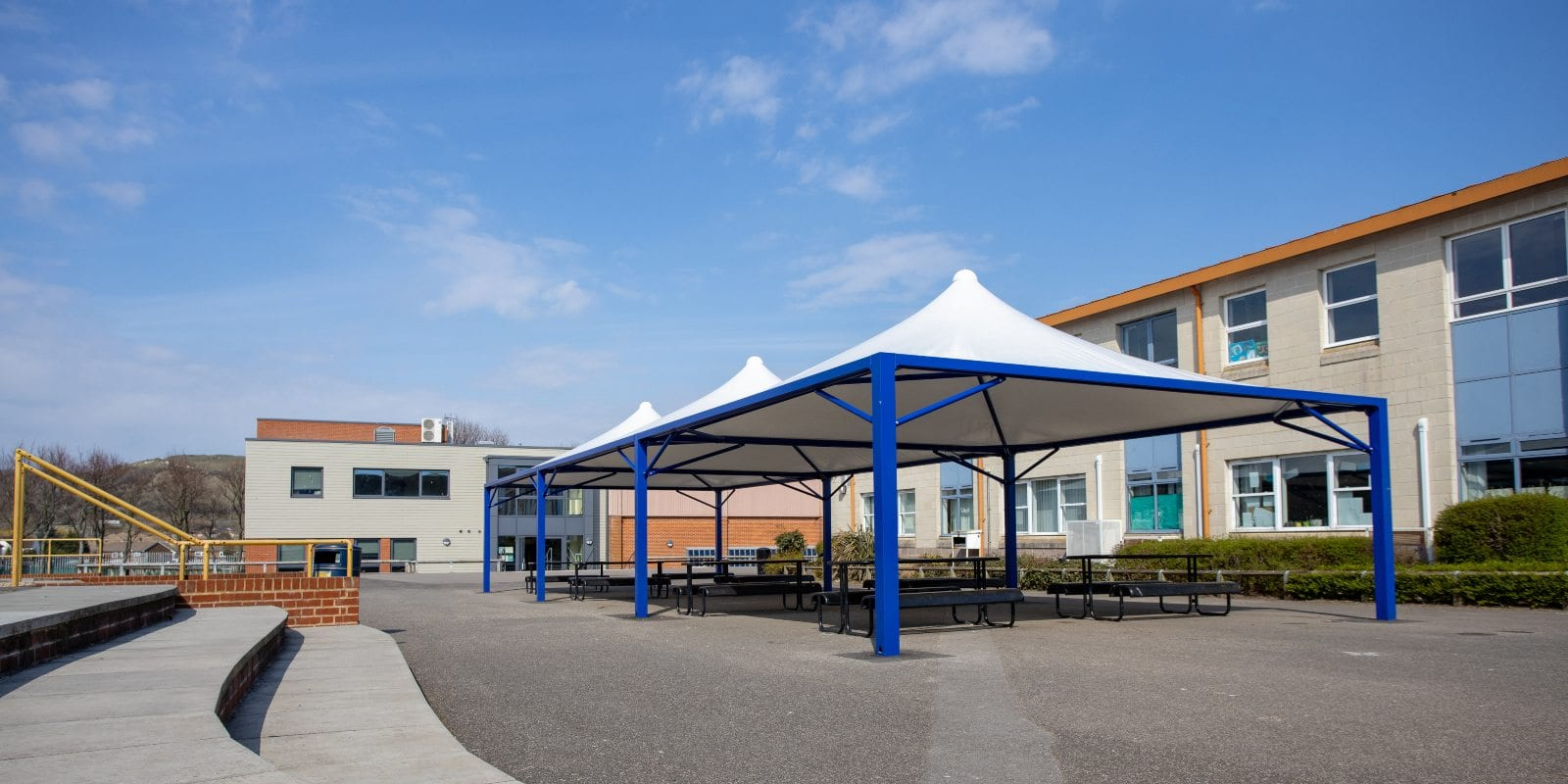 White fabric canopies we manufactured for The Harvey Grammar School
