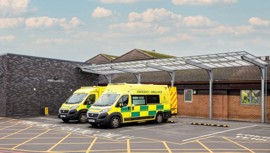 Ambulance canopy we designed for Countess of Chester Hospital
