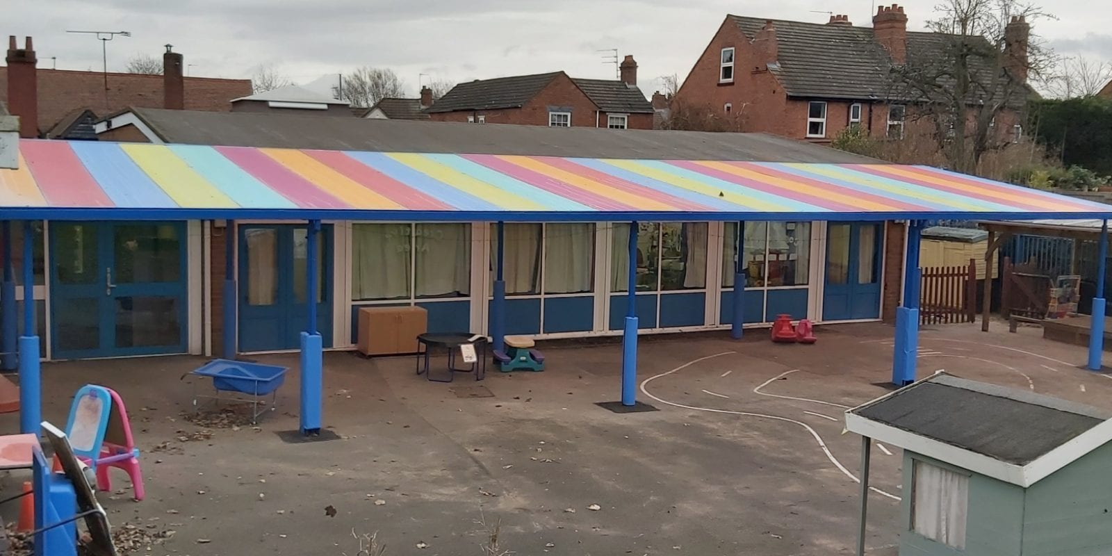 Colourful roof canopy we designed for Church of the Ascension