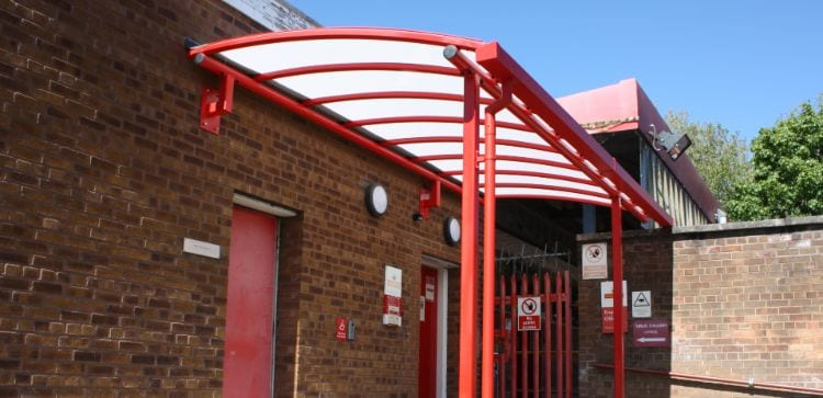 Covered walkway canopy we designed for Royal Mail Middleton