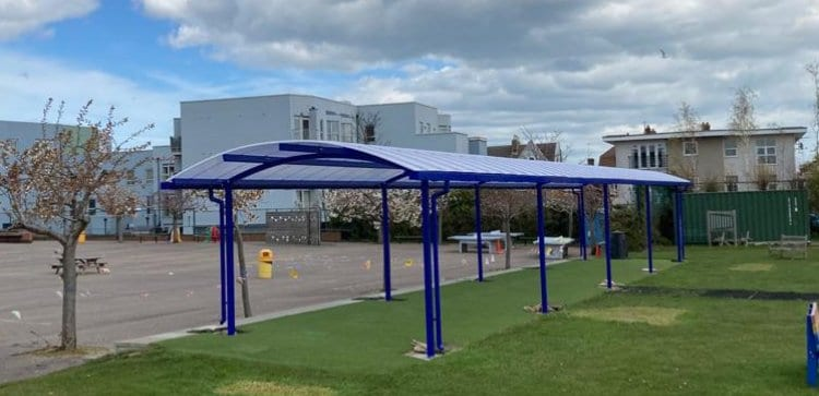 Curved roof canopy we designed for Christ Church C of E Junior School