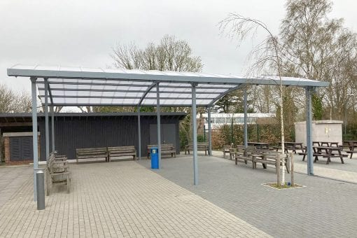 Curved roof canopy we fitted at Wye School