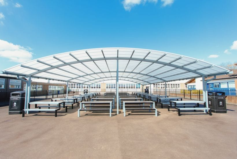 Curved roof shelter we made for John Taylor High School