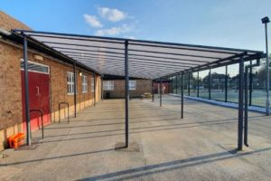 Freestanding canopy we installed at Ashton on Mersey School
