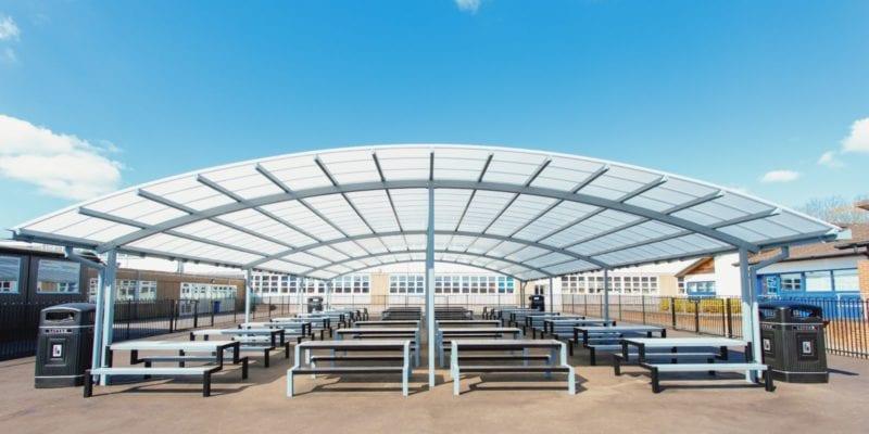Outdoor dining shelter we designed for John Taylor High School