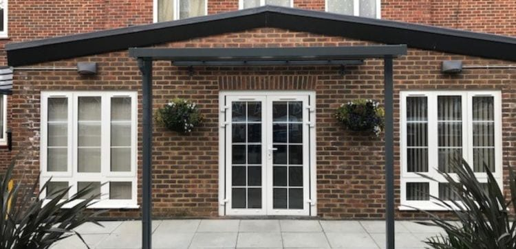 Straight roof canopy we installed at Kirton Lodge