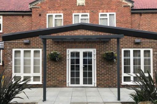 Straight roof shelter we designed for Kirton Lodge