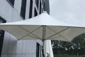 Umbrella canopy we designed for Torfaen Learning Zone