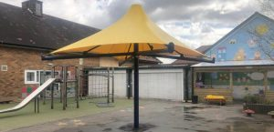Umbrella canopy we made for Westmorland School