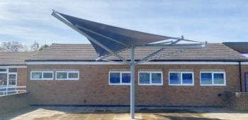 Blue fabric canopy we designed for Brushwood Junior School
