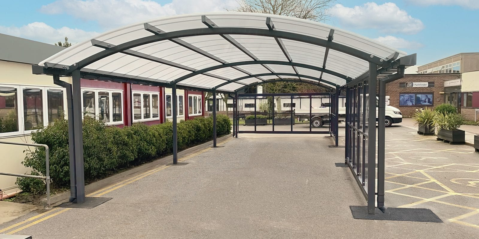 Curved roof canopy we made for Archbishop Holgates School
