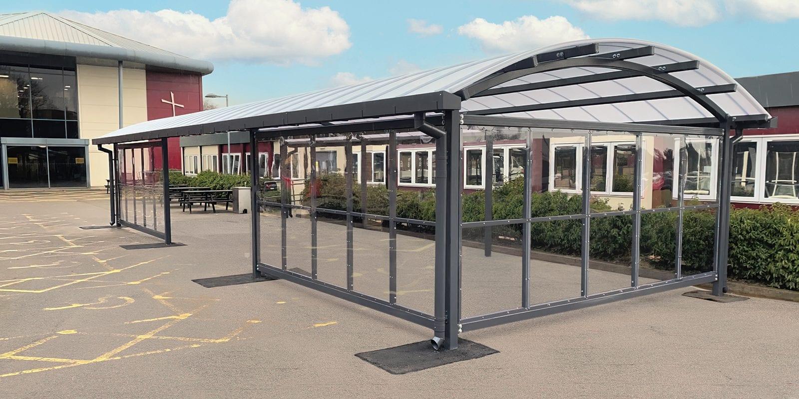 Curved roof shelter we designed for Archbishop Holgates School