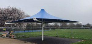 Fabric umbrella canopy at Dulverton Primary School