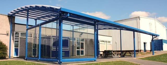 Outdoor canopy at Great Torrington School