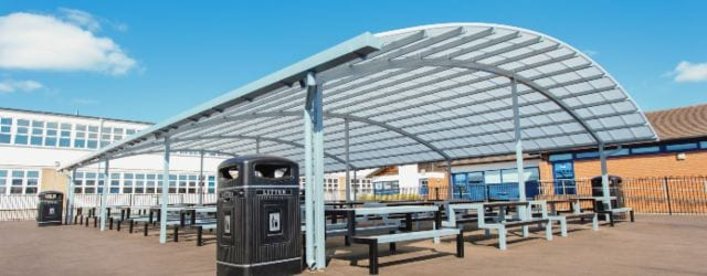 Outdoor canopy we fitted at John Taylor High School