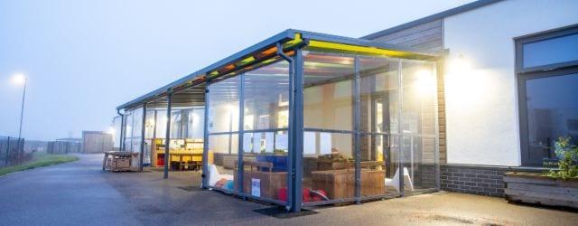Outdoor canopy we designed for Monksmoor Park Primary School