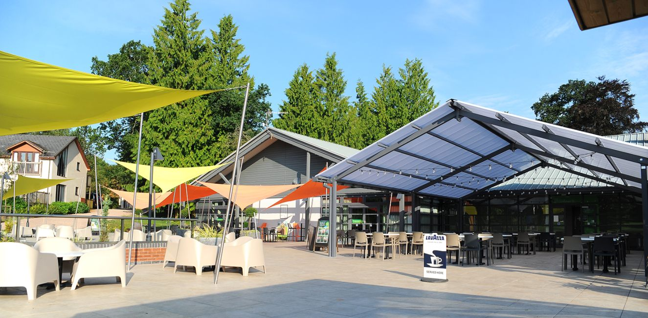 Covered seating canopy at Whitemead Forest Park