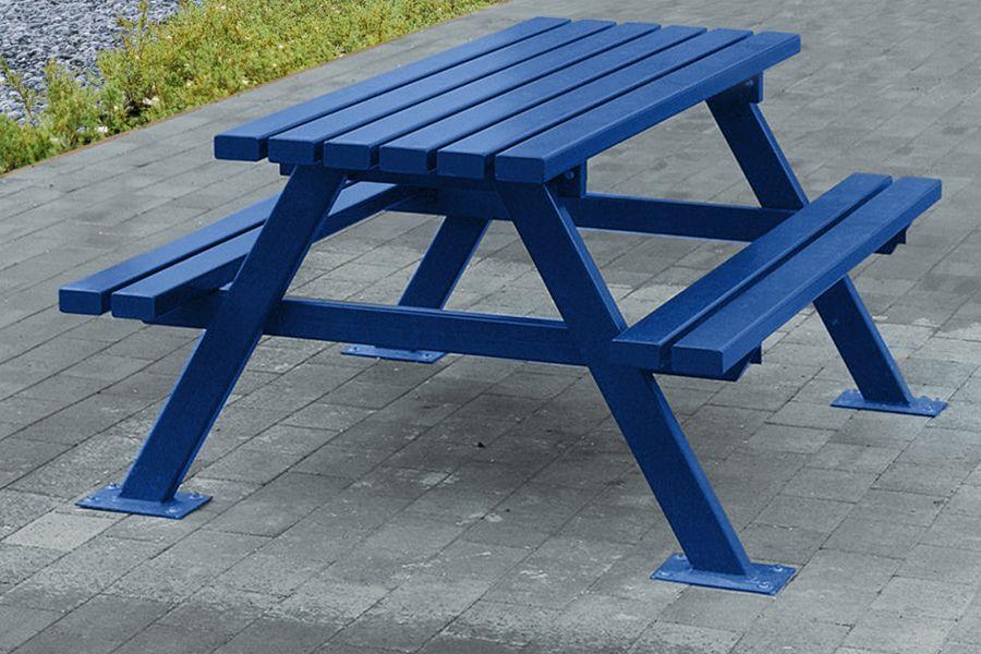 Blue Picnic Bench